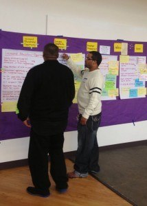 Two stakeholders add their ideas to the sticky wall.